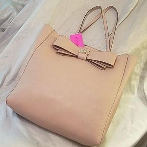 Betsey johnson bow tote blush (mauve) nwt